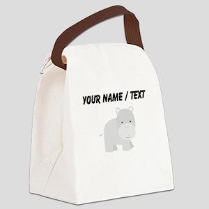 Cartoon Hippo Canvas Lunch Bag