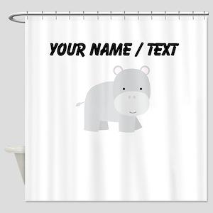 Cartoon Hippo Shower Curtain