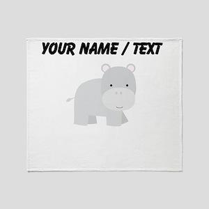 Cartoon Hippo Throw Blanket