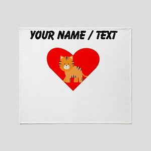 Cartoon Tiger Heart Throw Blanket