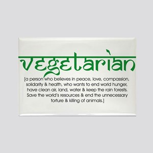a vegetarian is a person who. Rectangle Magnet