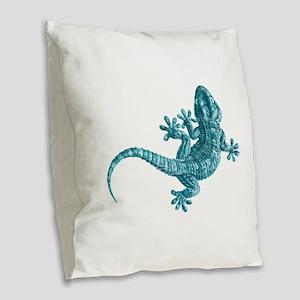 Gecko Burlap Throw Pillow