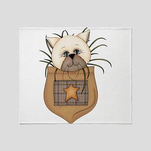 Pocket Kitty Cream Throw Blanket