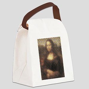 Mona Lisa Halftone Canvas Lunch Bag