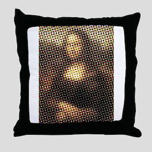 Mona Lisa Halftone Throw Pillow