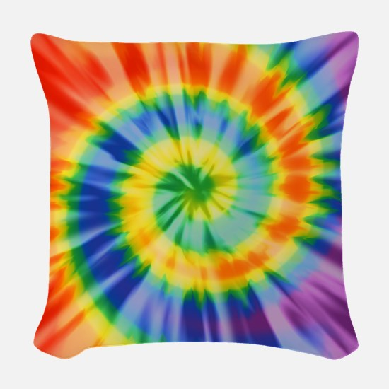 Printed Tie Dye Pattern Woven Throw Pillow