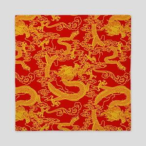 dragon-pattern_red-yellow_9x9 Queen Duvet