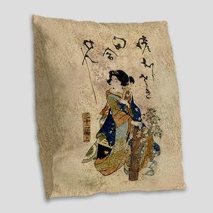 Vintage Japanese Art Woman Burlap Throw Pillow
