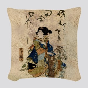 Vintage Japanese Art Woman Woven Throw Pillow