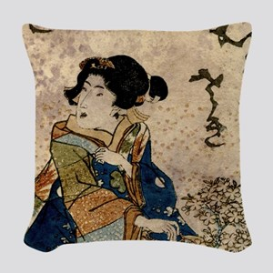 Vintage Japanese Art Woman Woven Throw Pillow