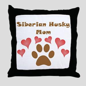 Siberian Husky Mom Throw Pillow