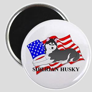 Siberian Husky USA Magnet