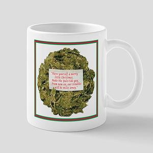 Xmas 2010 Mug-Regular-Marijuana Wreath