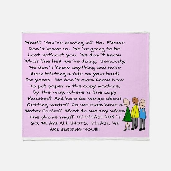 group retirement pink Throw Blanket