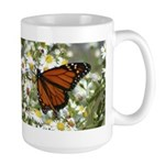 Monarch Butterfly on Wild Aster Large Mug