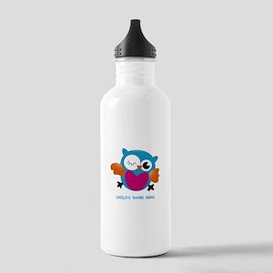 Editable Owl Print Sports Water Bottle