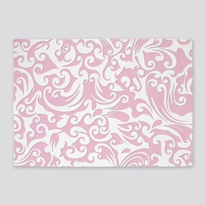 Baby Pink & White Swirls #2 5'x7'Area Rug