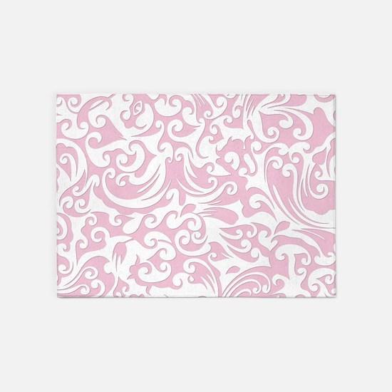 Baby Pink & White Swirls #2 5'x7'Area Rug