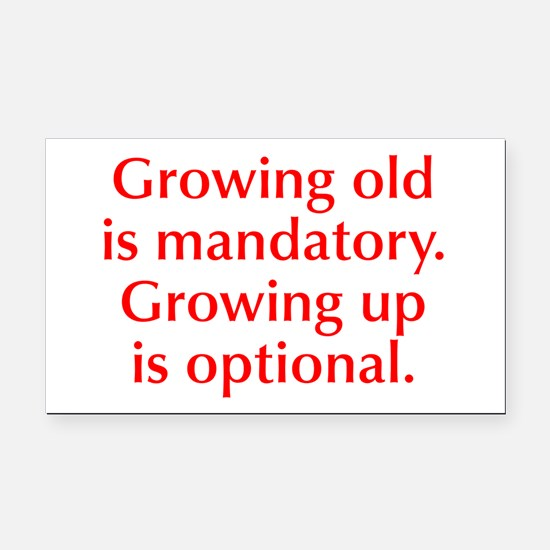 growing-old-opt-red Rectangle Car Magnet