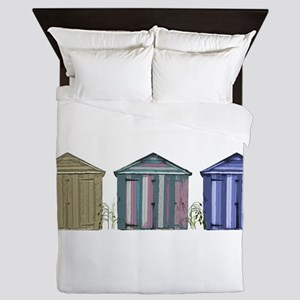 Beach Huts Art Queen Duvet