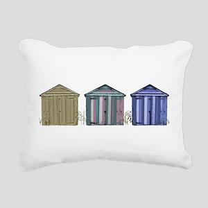 Beach Huts Art Rectangular Canvas Pillow