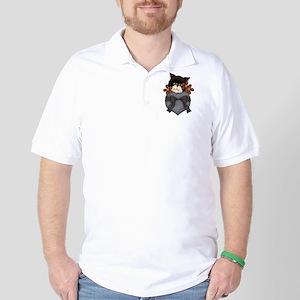 Pocket Kitty Black Golf Shirt