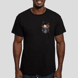 Pocket Kitty Black Men's Fitted T-Shirt (dark)