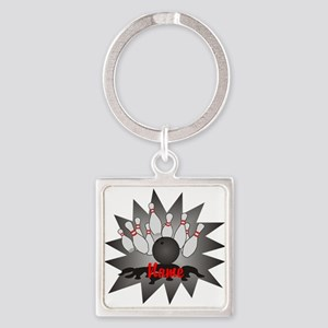 Personalized Bowling Square Keychain