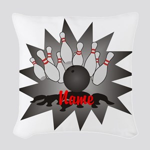 Personalized Bowling Woven Throw Pillow