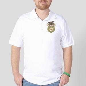 Pocket Kitty Brown Golf Shirt