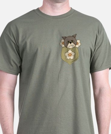 Pocket Kitty Brown T-Shirt