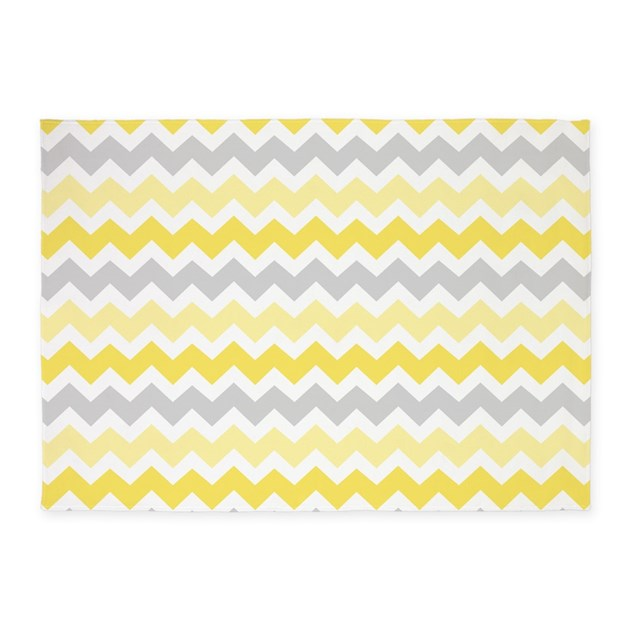 Yellow Grey White Chevron 5 X7 Area Rug By Dreamingmindcards