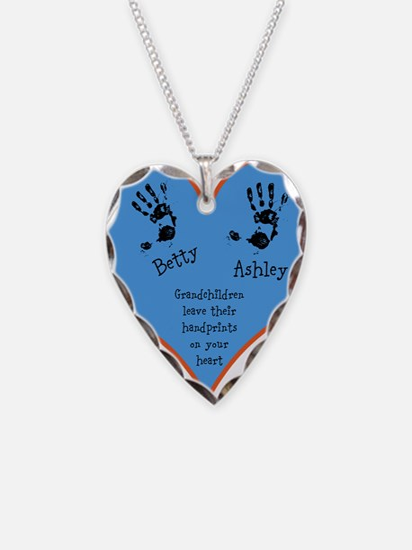 Grandchildren leave their handprints - 2 kids Neck