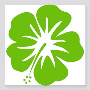 """Lime Green Hibiscus Square Car Magnet 3"""" x 3&"""