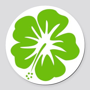 Lime Green Hibiscus Round Car Magnet