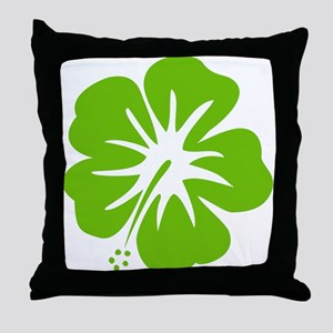 Lime Green Hibiscus Throw Pillow