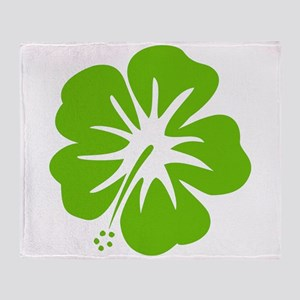 Lime Green Hibiscus Throw Blanket
