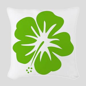 Lime Green Hibiscus Woven Throw Pillow
