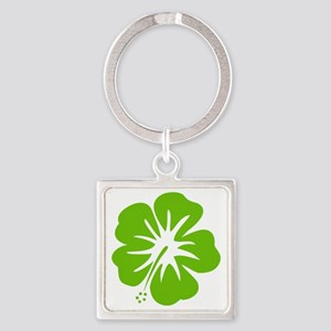 Lime Green Hibiscus Keychains