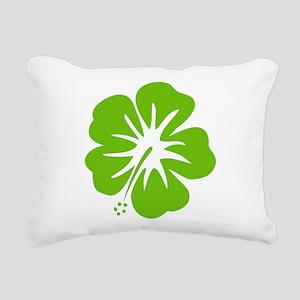 Lime Green Hibiscus Rectangular Canvas Pillow