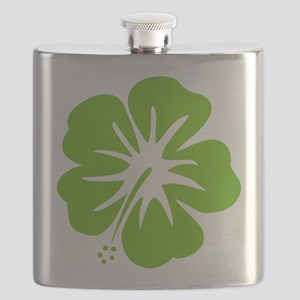 Lime Green Hibiscus Flask