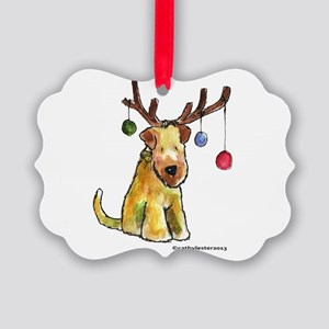 Wheaten terrier with Christmas Antlers Picture Orn