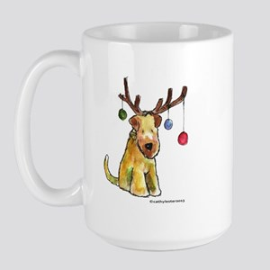 Wheaten terrier with Christmas Antlers Large Mug