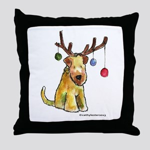 Wheaten terrier with Christmas Antlers Throw Pillo