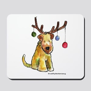 Wheaten terrier with Christmas Antlers Mousepad