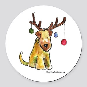 Wheaten terrier with Christmas Antlers Round Car M