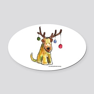 Wheaten terrier with Christmas Antlers Oval Car Ma