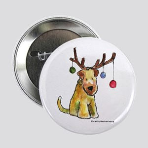 "Wheaten terrier with Christmas Antlers 2.25"" Butto"