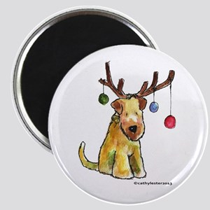 Wheaten terrier with Christmas Antlers Magnet