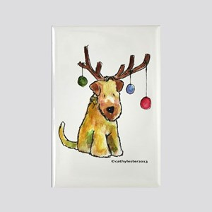 Wheaten terrier with Christmas Antlers Rectangle M